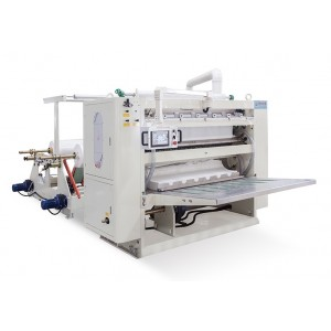 facial tissue interfolding machine